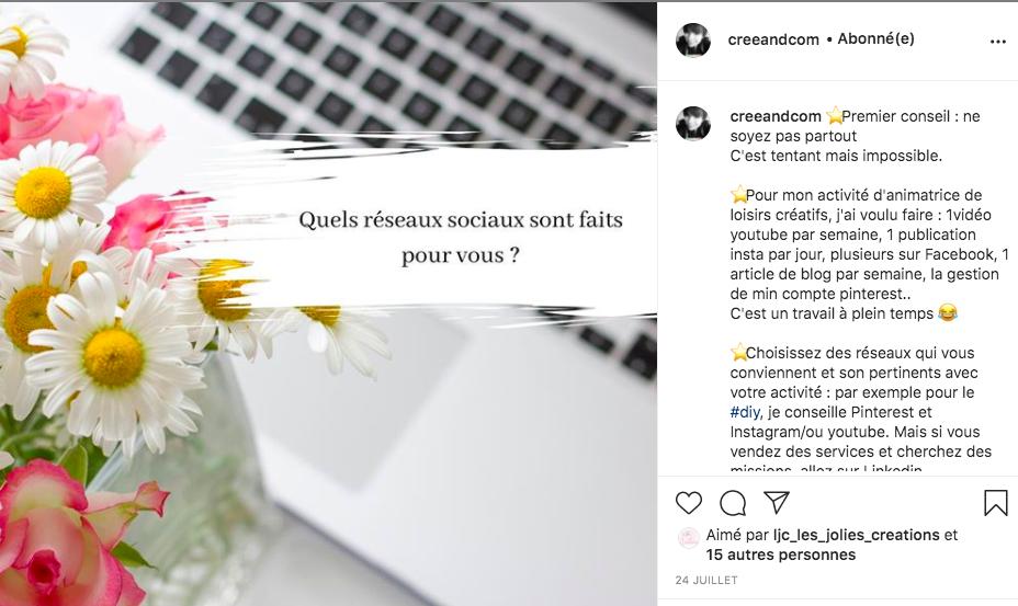 rédiger pour instagram